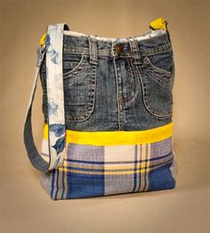 Interesting idea.. would add ruffles to the bottom of jeans instead of plaid. Recycled Jean Purse @Penny Douglas-Purse-Patterns.com