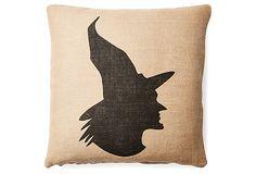 One Kings Lane - Add Spellbinding Style - Witch 20x20 Burlap Pillow, Tan