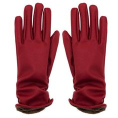 Yoins Red Leather Gloves (27 PEN) ❤ liked on Polyvore featuring accessories, gloves, red, synthetic gloves, lined gloves, red gloves, faux-fur gloves and leather gloves