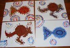 Ten kids and a Dog: Sunday Art lessons-Aboriginal dot art Aboriginal Dot Art, Aboriginal Education, Australia Crafts, Australia Day, Australia School, Kunst Der Aborigines, Christmas In Australia, Geography For Kids, Food Art For Kids