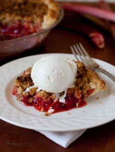 Streusel Strawberry Rhubarb Pie Recipe from Barbara Bakes
