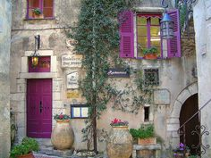 """Oh so beautiful!  """"Provence shutters"""", a restaurant in La Turbie, a small village above the Mediterranean & a few kilometers from Monte Carlo on the French Rivera.  Photo by Catherine Chanel"""