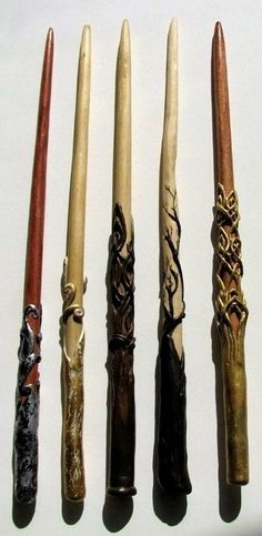 Crafted Magic Wands by ~trillions on deviantART Idea to make with clay & ? for hair sticks Objet Harry Potter, Theme Harry Potter, Harry Potter Wand, Clay Projects, Clay Crafts, Halloween Projects, Fimo Polymer Clay, Book Of Shadows, Clay Creations