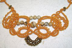 """""""Vision"""" necklace in burnt ochre - detail by yarnplayer, via Flickr"""