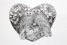 'Moreporks' © Sam Lane - Ink on Hahnemuhle bamboo paper