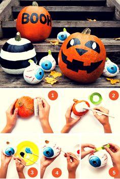 Halloween-Horror: Augäpfel aus kleinen Zierkürbissen.
