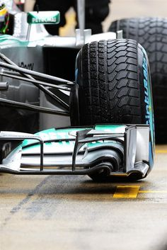 Front wing and Pirelli tyre detail on the car of Lewis Hamilton (GBR) Mercedes AMG F1 W04. Formula One Testing, Day 4, Barcelona, Spain, Friday, 22 February 2013