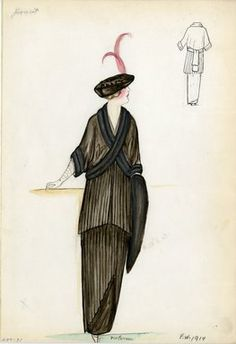 """""""Suit, Doucet, Fall Winter 1914. Long brown pleated dress; matching brown short jacket, dolman sleeves, fur trimmed cuffs and jacket front ; brown hat, red feathers; fur stole. (Bendel Collection, HB 009-31)"""", 1914. Fashion sketch. Brooklyn Museum, Fashion sketches. (Photo: Brooklyn Museum, SC01.1_Bendel_Collection_HB_009-31_1914_Doucet_SL5.jpg)"""