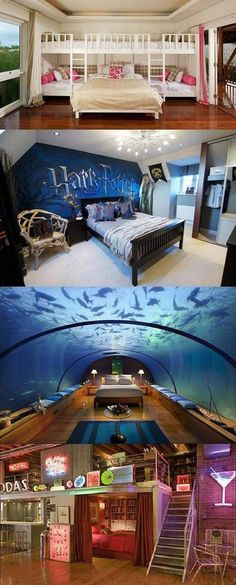 cool bedrooms - love the top one as a guest room for a bunch of kids :) (Cool Rooms For Tweens) Dream Rooms, Dream Bedroom, Girls Bedroom, Bedroom Decor, Bedroom Ideas, Bedroom Bed, Bedroom Styles, Bedroom Designs, Awesome Bedrooms