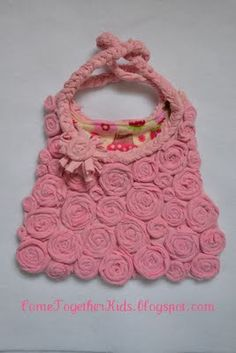 pink roses, craft, old clothes, old shirts, handmade purses, tee shirts, children clothing, bag tutorials, old t shirts