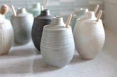 Pottery Honey Pot - Grooved Soft Gray Ceramic Pot