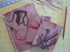 Paper bag 'journals' created from paper grocery bags (first saw this in Country Living).  Because most of my journals are just surfaces for gluing magazine clippings onto ; )
