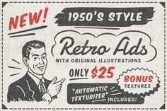 1950s Style Retro Ad Templates • Available here → https://creativemarket.com/DISTRICT62/397927-1950s-Style-Retro-Ad-Templates?u=pxcr