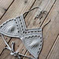 Made to order grey tan mid neck crochet bralette от Imyourgypsy