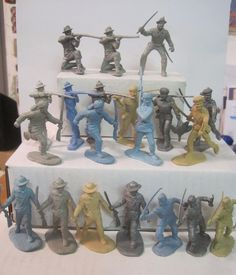 MARX ALAMO FORT APACHE PLAYSET 20 PIONEER FLAT GRAY TAN BLUE SILVER TOY SOLDIERS #MARX