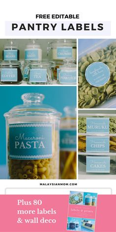 PDF editable pantry labels | Organizing labels | Free printable | Subscribe to Malaysian Mom's mailing list to download.