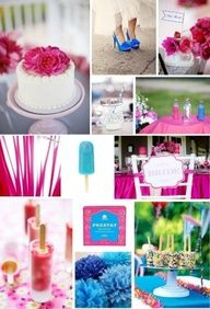 Hot pink and cobalt blue wedding inspiration this is it. these are my colors