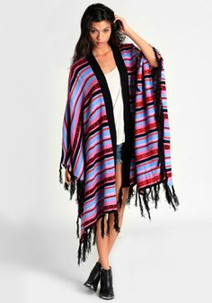 New Discovery Striped Poncho @Shannon Miller