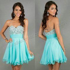 Cheap Short Evening Prom Dress Light Blue Chiffon 2014 Discount Short Graduation Dresses