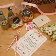 A sweet way to greet tired travelers See more here: http://confettigiftcompany.com/collections/wedding-welcome-boxes