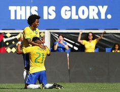 5 September 2015 / Brazil 1-0 Costa Rica (Friendly): Willian (left) with fellow Brazilian Hulk, author of the game's sole goal...