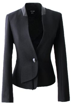 Black Womens Fashion Cotton Blended Patchwork PU Short Blazer on sale at reasonable prices, buy cheap Black Womens Fashion Cotton Blended Patchwork PU Short Blazer online at PinkQueen.com now!