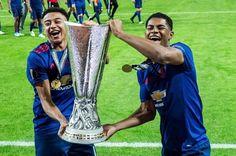 Jesse and Rashy😍 Manchester United Champions, Manchester United Football, Cristiano Ronaldo Celebration, Jesse Lingard, Marcus Rashford, England Football, English Premier League, Europa League, Man United