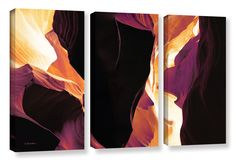 Slot Canyon Light From Above 1 by Linda Parker 3 Piece Photographic Print on Wrapped Canvas Set