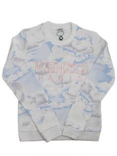 a9e82953e kenzo sweatshirt - cotton sweatshirt clouds print in white, light blue and  gray color. Kenzo Paris pink embroidery on the front.