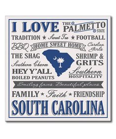 Look what I found on #zulily! 'I Love South Carolina' Wall Sign #zulilyfinds