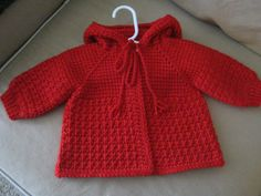 Red Crochet Baby Sweater with Hood for Boy or por ForBabyCreations
