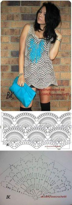 Fabulous Crochet a Little Black Crochet Dress Ideas. Georgeous Crochet a Little Black Crochet Dress Ideas. Crochet Tunic Pattern, Crochet Motif Patterns, Crochet Shirt, Crochet Designs, Crochet Stitches, Knitting Patterns, Crochet Bodycon Dresses, Black Crochet Dress, Mode Crochet
