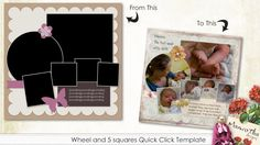 Wheel and 5 squares Quick Click Template
