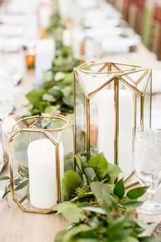 The Sutherland Wedding Photos Wake Forest North Carolina The Sutherland Wedding Photos by Mikkel Paige Photography. Grey and white farm tables by Cottage Luxe, with gold geometric candle holders and eucalyptus leaf garland. Planning by A Southern Soiree. Geometric Candle Holder, Gold Candle Holders, Gold Candles, Gold Centerpieces, Gold Wedding Decorations, Romantic Candles, Geometric Wedding, Leaf Garland, Bouquets