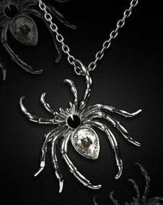Restyle-Halskette-Brosche-SET-Gothic-Spinne-Steampunk-Spider-Necklace-Pin-HR9