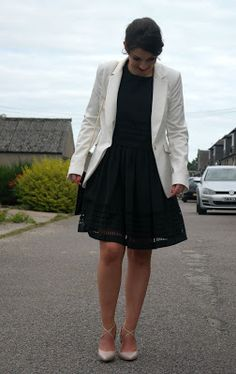 Trending Black Dress wedding guest outfit Wearing black dress from Reiss with white Zara blazer