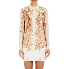 Balmain Crepe Blouse ($1,970) ❤ liked on Polyvore featuring tops, blouses, nude, multi color blouse, colorful tops, crepe blouse, balmain and pattern blouse