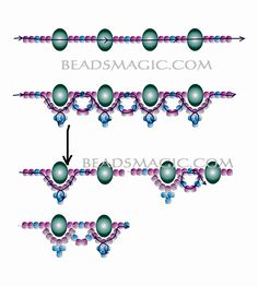 Free pattern for necklace Faberge - 2 -----------U need seed beads 11/0 (2 colors), Rondelle beads 6-8 mm.