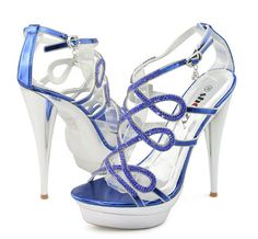Cute Shoes for Women | Cute high heel rhinestone navy blue prom party wedding shoes for women