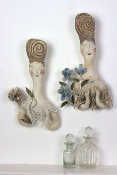 Folk Doll Art Soft Sculpture ooak Textile Folk Art- Lily of the Flower Garden-Decorative Art Wall hanging