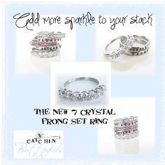 Add a beautiful layer of sparkle to your personalized stacked ring set!