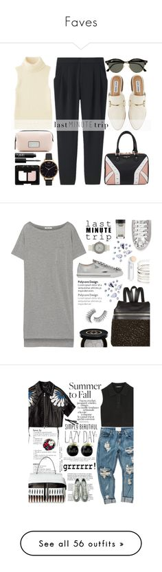 """""""Faves"""" by javorkozima ❤ liked on Polyvore featuring Uniqlo, Steve Madden, Ray-Ban, Marc Jacobs, Elodie, Olivia Burton, NARS Cosmetics, lastminutetrip, T By Alexander Wang and Miu Miu"""