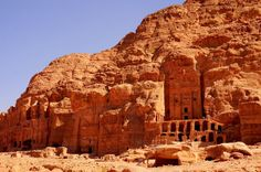 Tombs and temples carved into the rock in Petra - Jordan