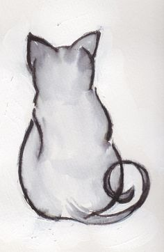 Ink Minimalist Art Drawing Art Print Cat by ARTseas on Etsy, $25.00