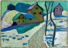 Gabriele Münter, Winterlandschaft, 1909 Öl auf Karton