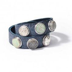 NOOSA Double Bracelet Embossed Dusk Blue   BIJ'TIJ