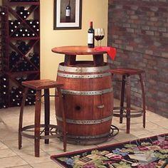 Vintage Oak Wine Barrel Bistro Table & Bar Stools at Wine Enthusiast - $1048.90