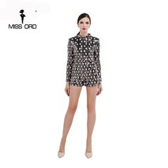 Missord  2017  Sexy O-neck long sleeve geometric sequin playsuit  FT4722