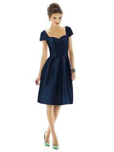 Alfred Sung bridesmaid dress. Color: midnight fabric: Peau de soie