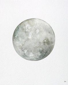 Luna 7 - Original 10x12 Minimalist Watercolor Moon Painting - Astronomy Art, Modern Painting - by Natasha Newton